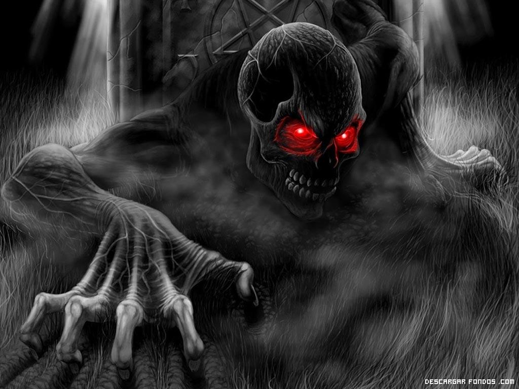 Calavera de ojos rojos
