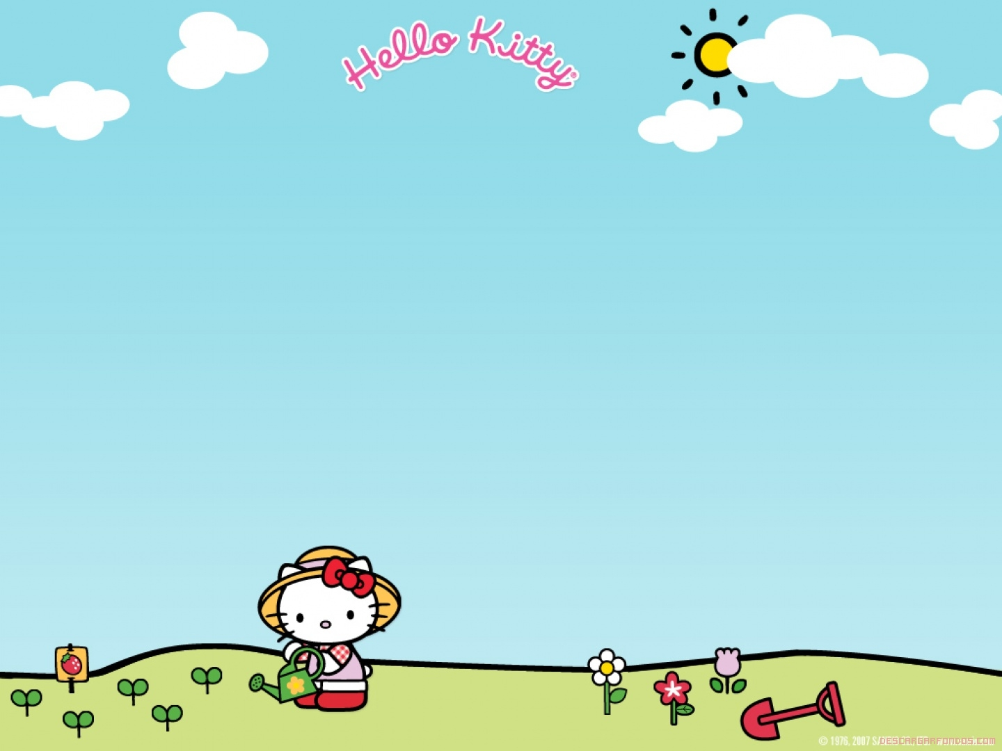 Hello Kitty riega sus flores