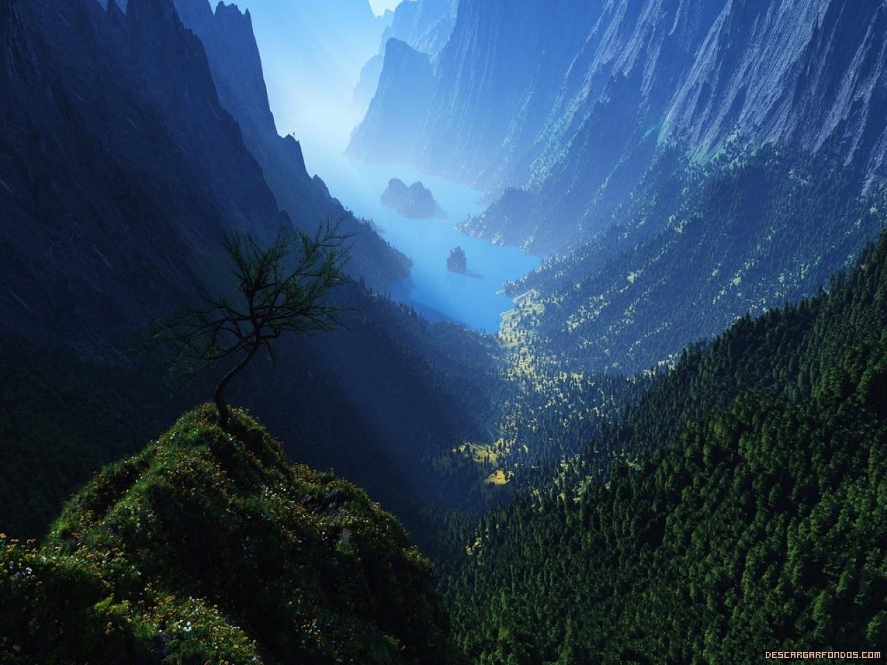 Montañas y lago en 3D