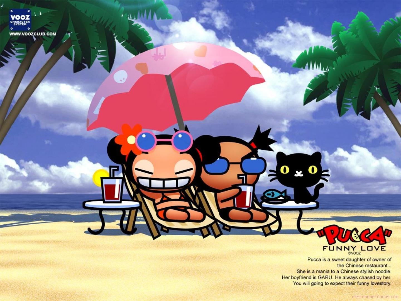 Pucca y Garu en la playa