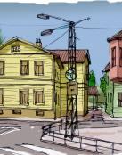 Un dibujo de una parte de la ciudad