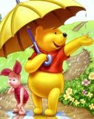 Winnie y Pigglet bajo la lluvia