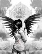 Chica emo con alas negras