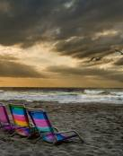 Día de playa nublado